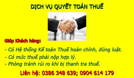 Dịch vụ quyết toán thuế cuối năm tại Phú Xuyên Hà Nội