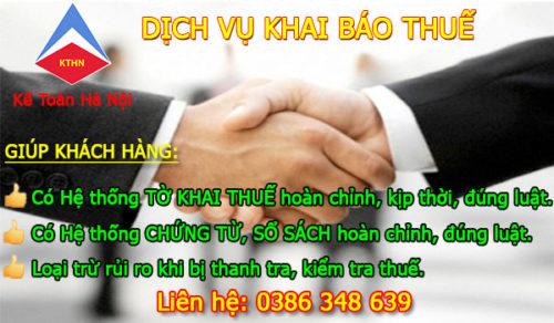 Dịch vụ khai báo thuế tại Thanh Oai Hà Nội