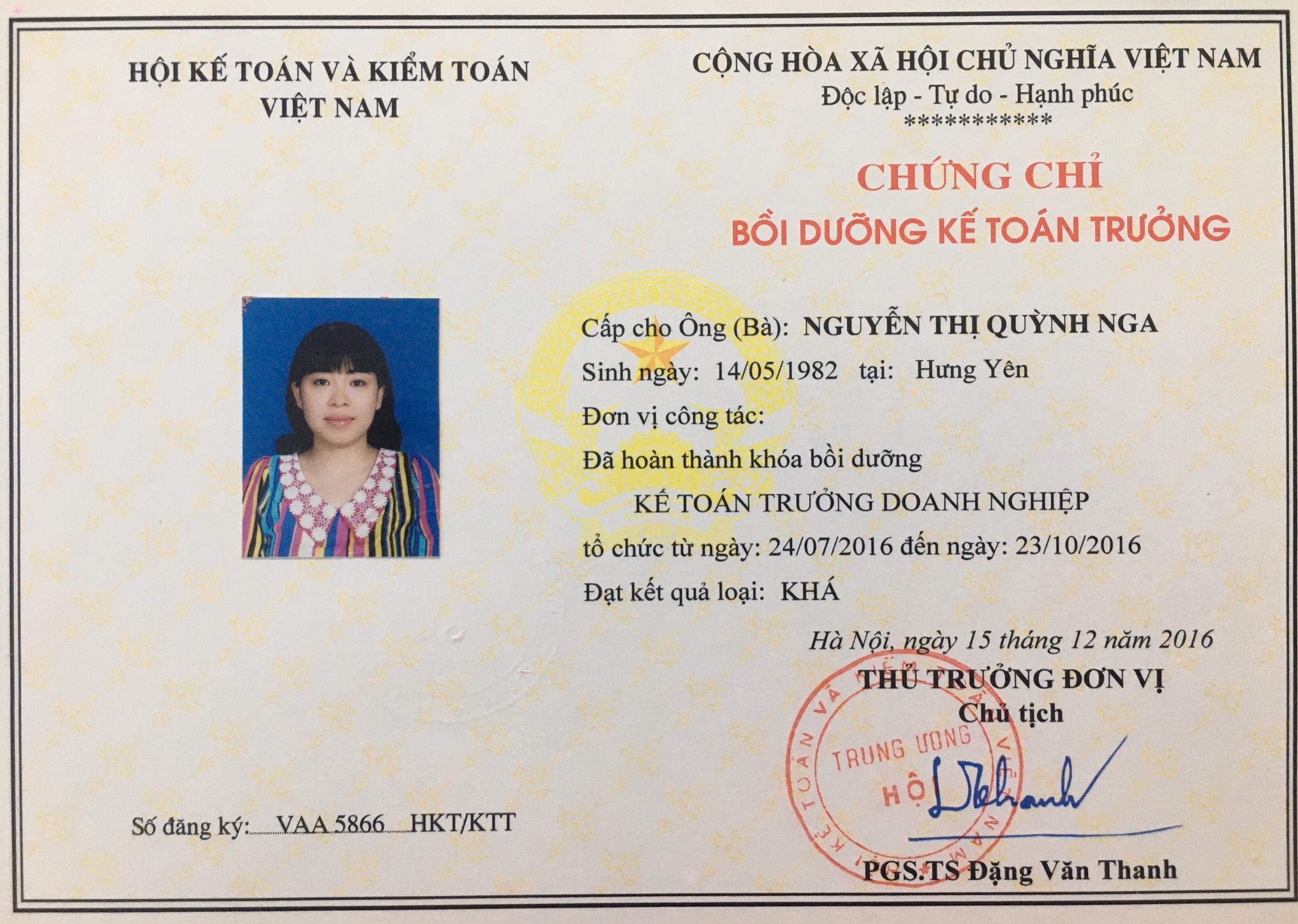 Trung tâm đào tạo kế toán trưMẫu chứng chỉ kế toán trưởng do Hội Kế toán và Kiểm toán Việt Nam cấp.ởng tại Vĩnh Phúc